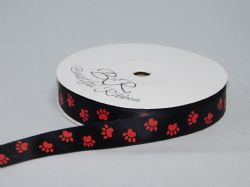 Black with Red Paw Print  Satin or Grosgrain ribbon 2, 20 25 metres Double sided 16mm 15mm